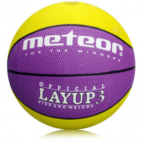 Basketbalový míč Meteor Layup 3 Yellow/Purple