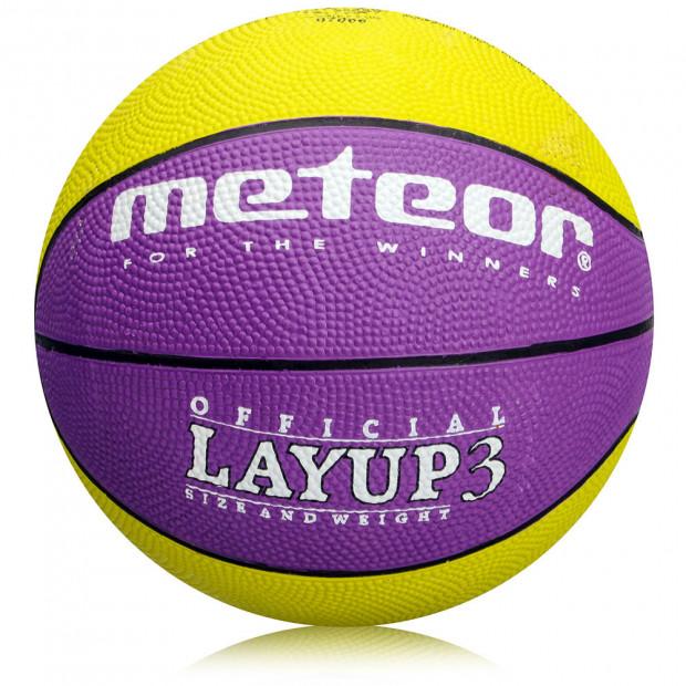Basketbalový míč Meteor Layup 3 Yellow/Purple