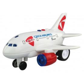 Letadlo ČSA na setrvačník s hlášením kapitána a letušky