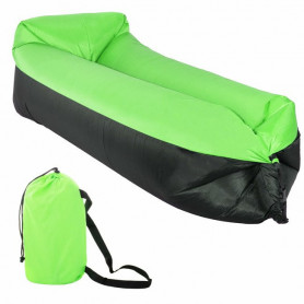 Nafukovací vak SPRINGOS Sofa Lazy Bag Green/Black 185 x 75 x 45 cm / 180 kg
