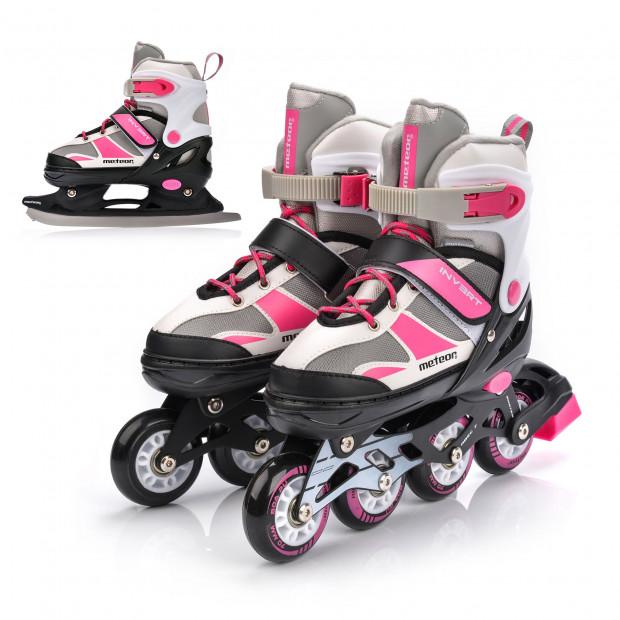 Dětské 2v1 zimní a kolečkové brusle Meteor Pink/Grey nastavitelné