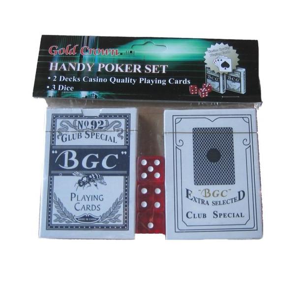 Sada pokerových karet včetně 3 kostek